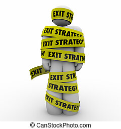 Exit Strategy Man Person Wrapped Caught Yellow Tape Escape...