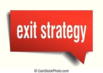 exit strategy red 3d speech bubble