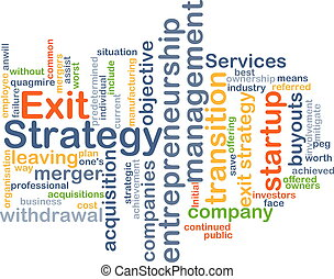 Exit strategy wordcloud concept illustration - Background...