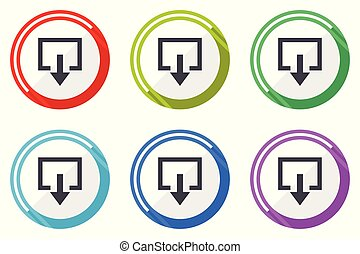 Exit vector icons, set of colorful flat design internet symbols on white background