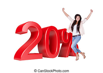 Exited Woman Jumping In Front Of 20% Sale Discount. Isolated...