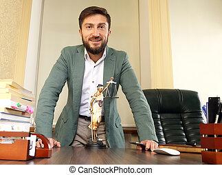 exitoso, abogado, en, la oficina, atrás, el, escritorio