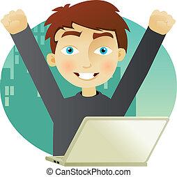 exitoso, computador portatil, hombre de negocios