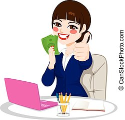 exitoso, dinero, mujer de negocios