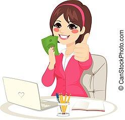 exitoso, dinero, ventilador, billete de banco, mujer de negocios