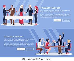 exitoso, empresa / negocio, compañía, vector, ilustración