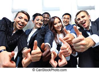 exitoso, empresarios, con, pulgares arriba, y, sonriente