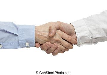 exitoso, empresarios, handshak