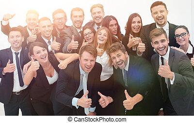 exitoso, equipo negocio, actuación, pulgares arriba