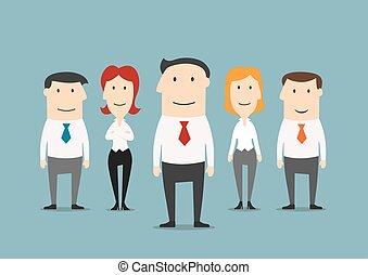 exitoso, equipo negocio, con, confiado, líder