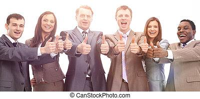 exitoso, equipo negocio, con, pulgares arriba