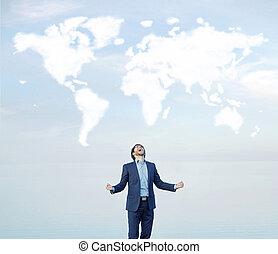 exitoso, gritos, hombre de negocios, mundo