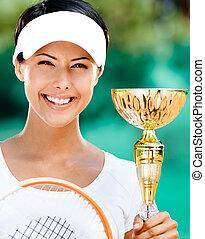 exitoso, hembra, jugador del tenis, ganó, el, competición