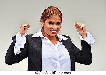 exitoso, hermoso, mujer de negocios