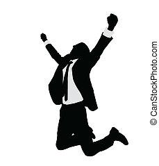 exitoso, hombre de negocios, celebrar