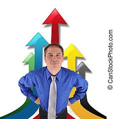 exitoso, hombre de negocios, con, arriba, flechas