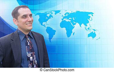exitoso, hombre de negocios, con, azul, visión