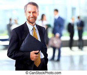 exitoso, hombre de negocios, en la oficina, primero, un,...