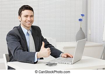 exitoso, hombre de negocios, feliz
