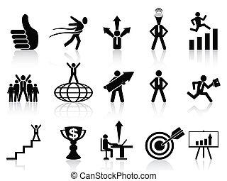 exitoso, iconos del negocio, conjunto