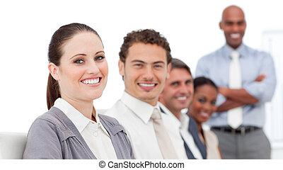 exitoso, internacional, presentación, empresarios