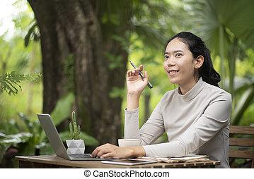 exitoso, mujer de negocios, concepto