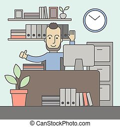 exitoso, oficina, clerk.