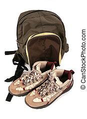 exkursion, stiefeln, rucksack
