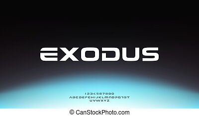 Exodus, an abstract sporty technology science alphabet font...