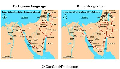 Exodus of Israel from Egypt and entry into Canaan. - Vector ...