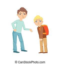 exorting, niño, adolescente, más débil, peleón, dinero, ilustración, travieso, se manifestar, comportamiento, niño, caricatura, incontrolable, delincuente