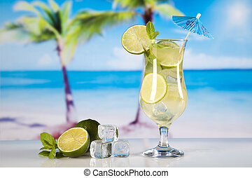 Exotic alcohol drinks, natural colorful tone