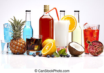 Exotic alcohol drinks set with fruits isolated on white...