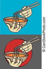 exotic asian noodle soup chopstics