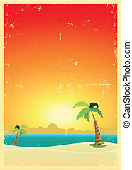 Exotic Beach Grunge Postcard - Illustration of an exotic...