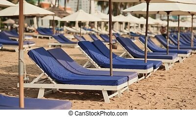 Exotic beach with sun loungers. Vietnam. The city of Nha Trang.