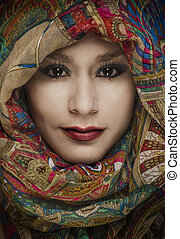 woman wearing scarf over face