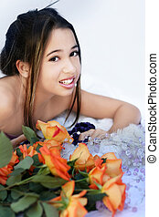 Asian girl with roses