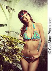 exotic beauty - Beautiful sexy woman in bikini among...