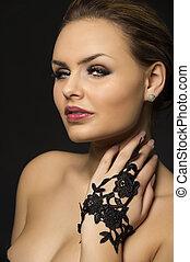 Exotic beauty - Closeup head and shoulders studio portrait...