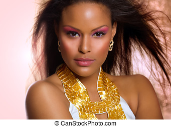Exotic Beauty - Exotic woman with colorful makeup.