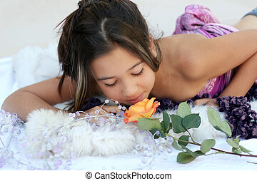 Exotic beauty - Asian girl with a rose
