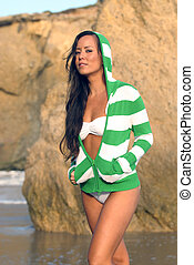 Exotic Beauty - beautiful young Polynesian woman in white...