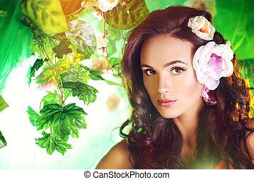 exotic beauty - Close-up portrait of a beautiful brunette...