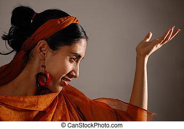 Exotic beauty with veil - Portrait of hispanic dancer female...