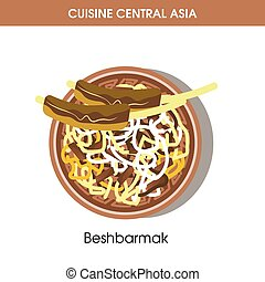 Exotic Beshbarmak on plate from Central Asian cuisine -...