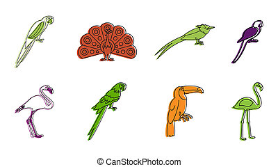 Exotic birds icon set, color outline style