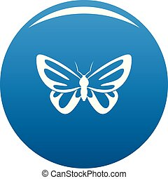 Exotic butterfly icon blue vector