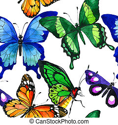 Exotic butterfly wild insect pattern in a watercolor style.