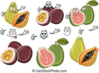 Exotic cartoon guava, passion fruit, papaya fruits